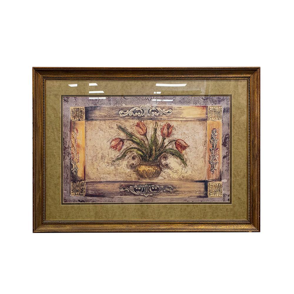 Floral Print In Wood Frame