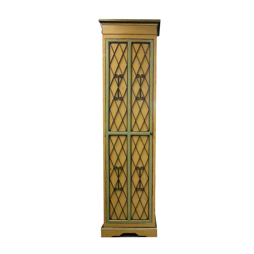 Tall Narrow 2 Door Storage Metal & Wood Armoire