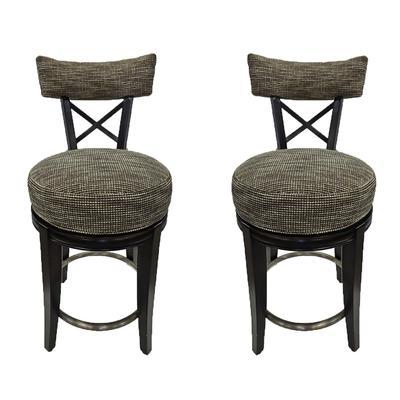 Pair of Designmaster Swivel Tweed Bar Stools
