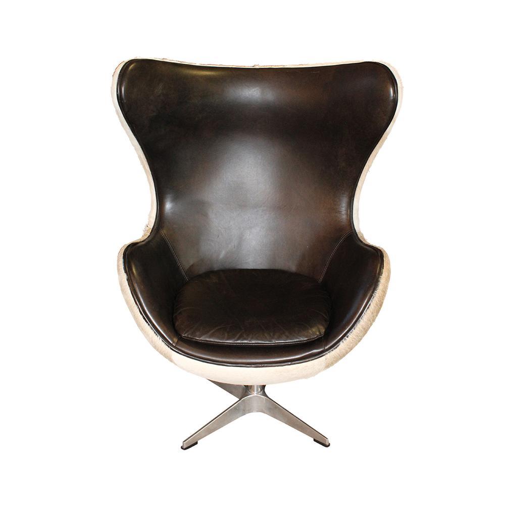 Restoration Hardware Cowhide Swivel Wingback Chair