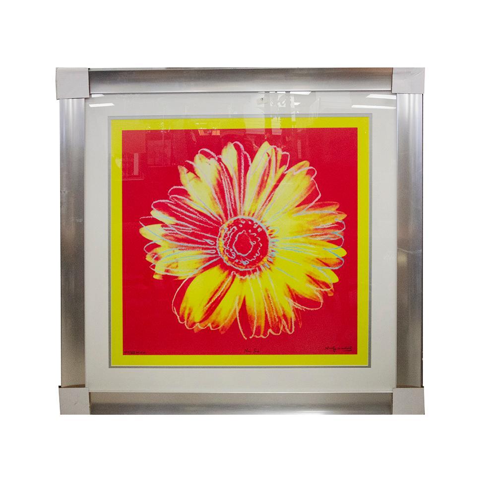 Andy Warhol Daisy Fuchsia & Yellow Print