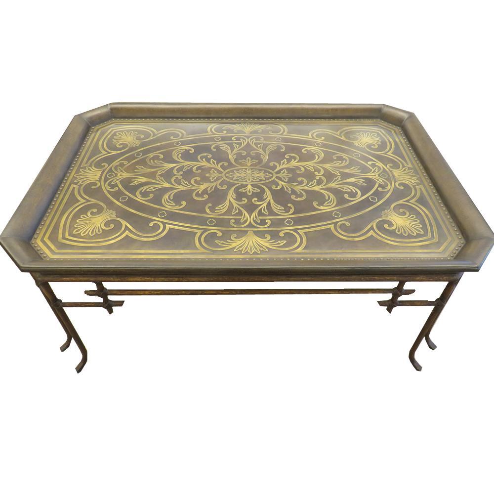 Brown Brass Swirl Inlay Coffee Table With Metal Twig Legs
