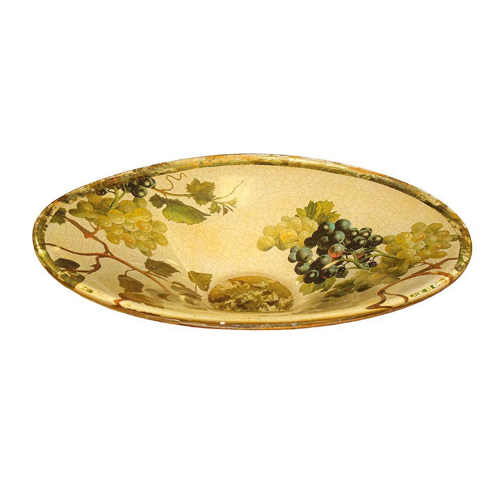 Signed Lesley Roy Oval Glass Fruit Bowl
