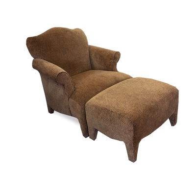 Sam Moore Cheetah Print Fabric Chair with Ottoman