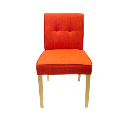 Set of 4 Orange Fabric Chairs with Light Wood Legs