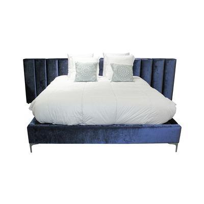 Blue Custom Plush Fabric King Bed