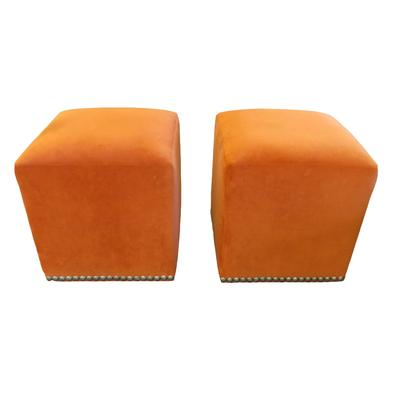 Arhaus Pair of Orange Velvet Footstool Ottomans