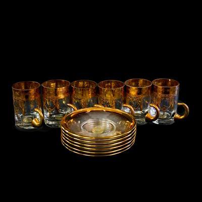 6 SC Line Art Glass Demitasse Cups