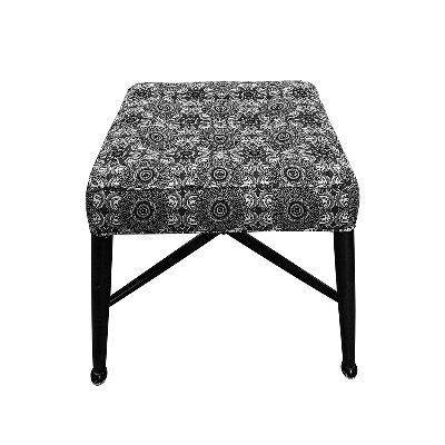 Custom Grey Upholstered Ottoman