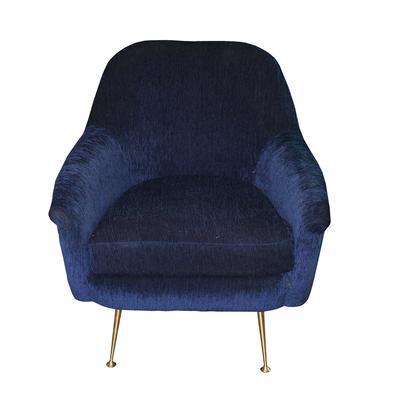 West Elm Phoebe Blue Velvet Chair