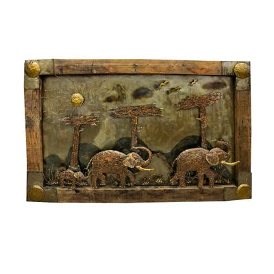 Welded Elephants Framed Art Piece with Reclaimed Wood