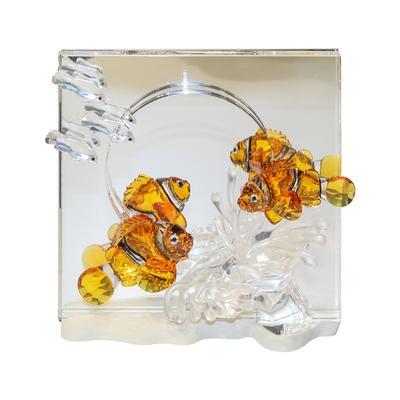 Swarovski Crystal Clown Fish Mirrored Display