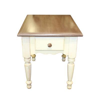 2 Tone Wood Farmhouse Style End Table