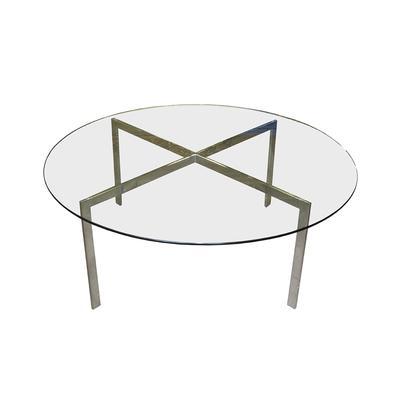 Modern Chrome Base Round Glass Top Coffee Table