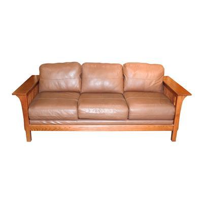 Bassett Furniture Mission Style Leather Sofa