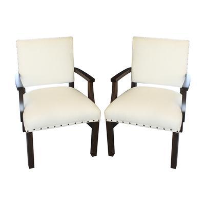 Ethan Allen Pair White Linen Chairs