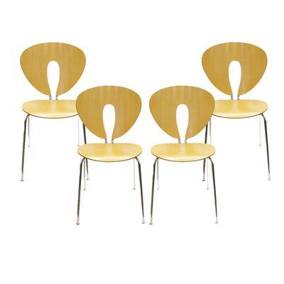 Set of 4 Globas Stua Modern Wood Chairs