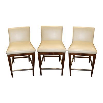 Set of 3 Aceray Leather Barstools
