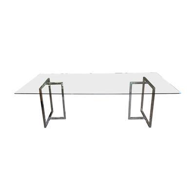 Glass Top Chrome Leg Dining Table