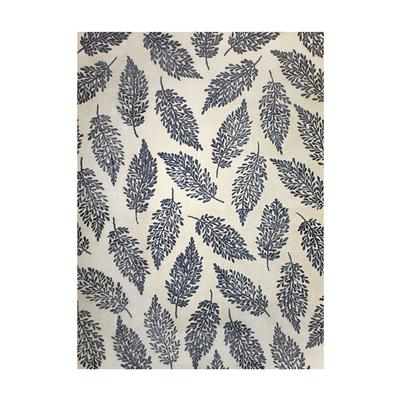 Blue Leaf Design Wool Rug