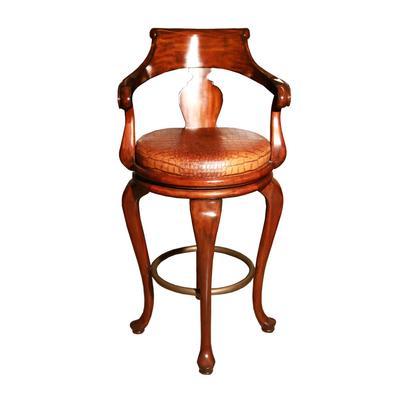 Maitland Smith Leather Swivel Chair