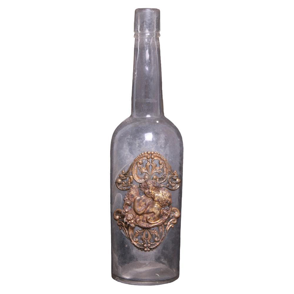 Vintage Bottle With Cherubs Angels