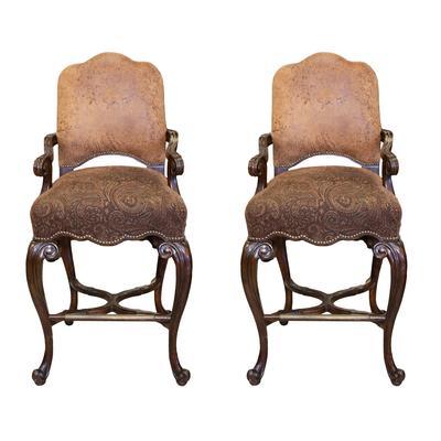 Maitland-Smith Brocade Nailhead Chairs
