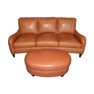 Bradington Young Orange Leather Sofa and Ottoman
