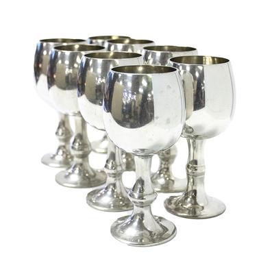 8 Vintage Sheffield English Pewter Goblets