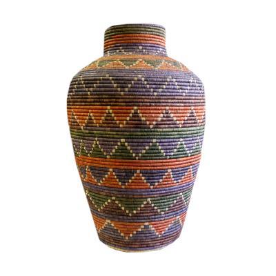 Multi-Colored Woven Basket Vase