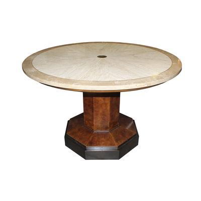 John Widdicomb Round Travertine & Burlwood Table