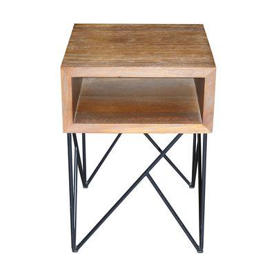 Crate & Barrel Modern Wood & Metal End Table