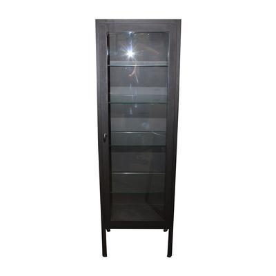Black Casement Steel & Glass Storage Cabinet