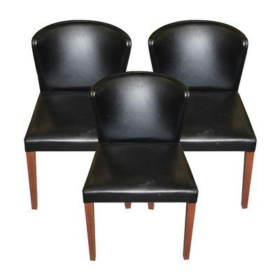 Set of 3 Crate & Barrel Curve Bak Faux Leather Chairs