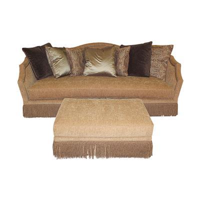 Huntington House Custom Fabric Sofa and Ottoman
