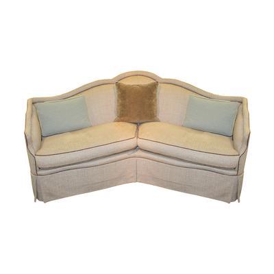 Baker 2 Seat Curved Tan Fabric Sofa