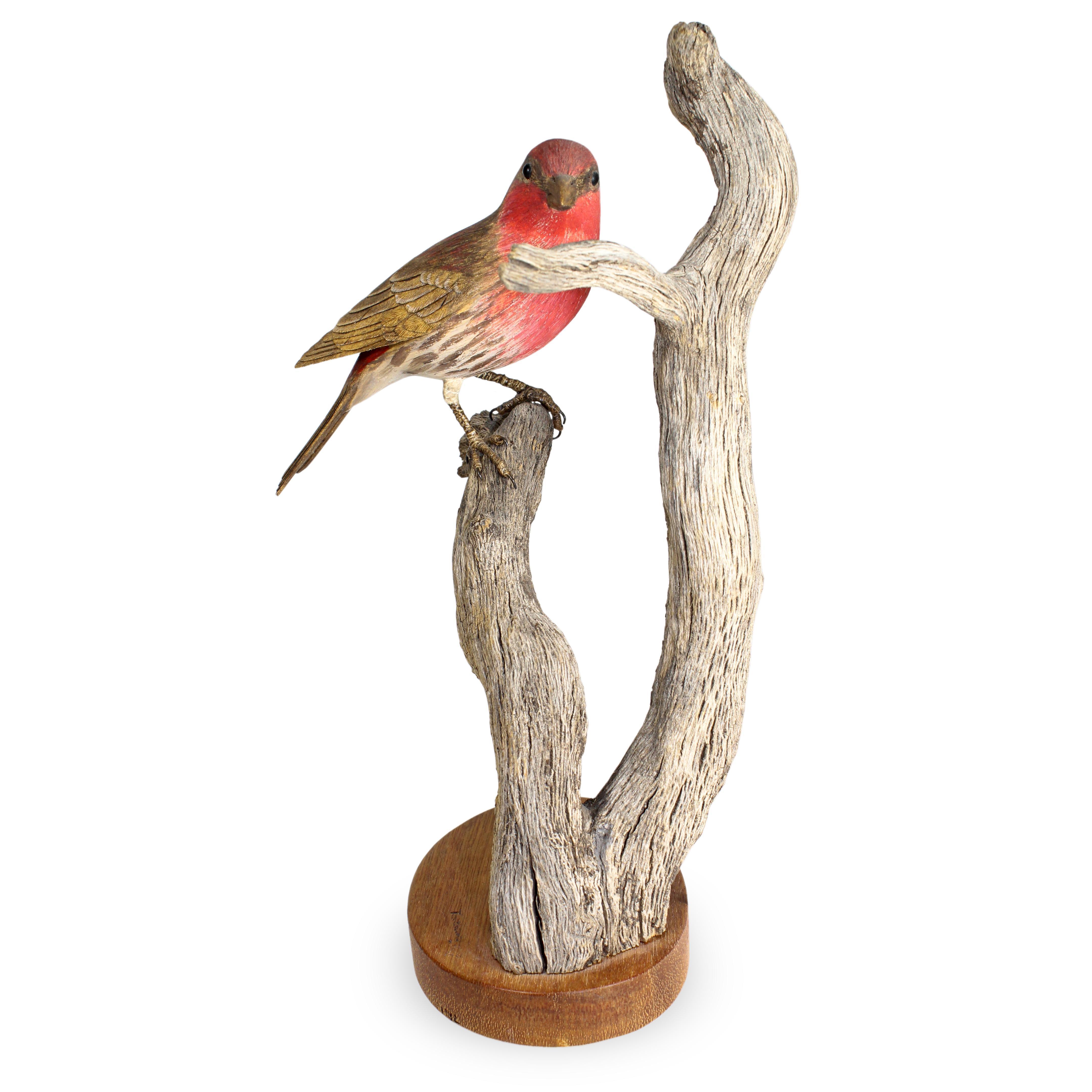 Trethewey Wooden Painted Red Bird On Branch