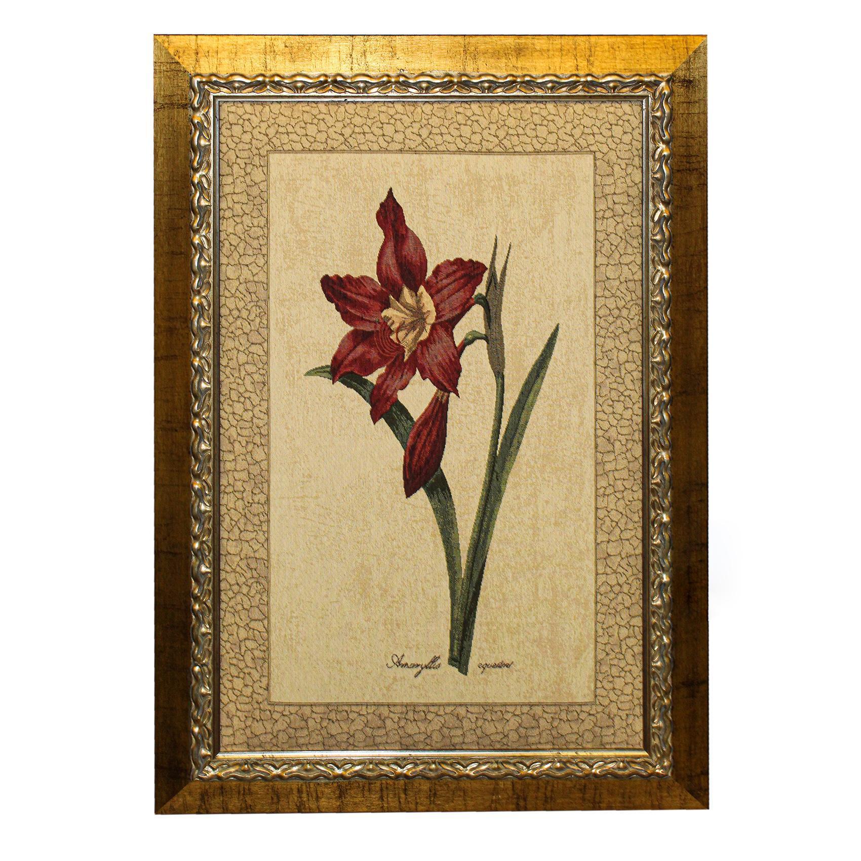 Framed Floral Cross Stitch Artwork