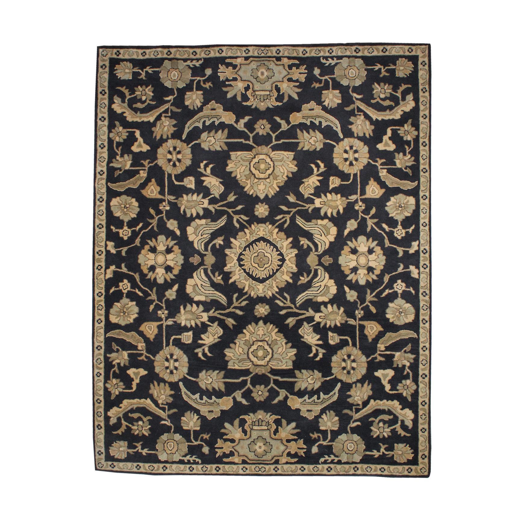 Dark Blue And Tan Floral Wool Rug
