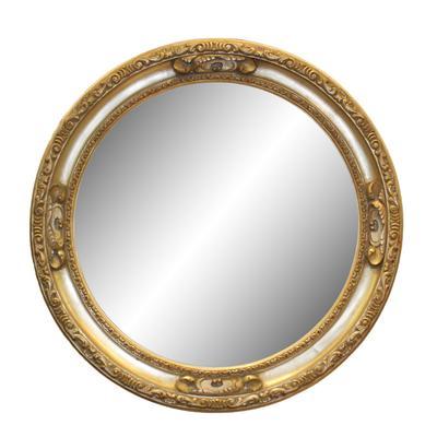 Round Pewter Framed Mirror