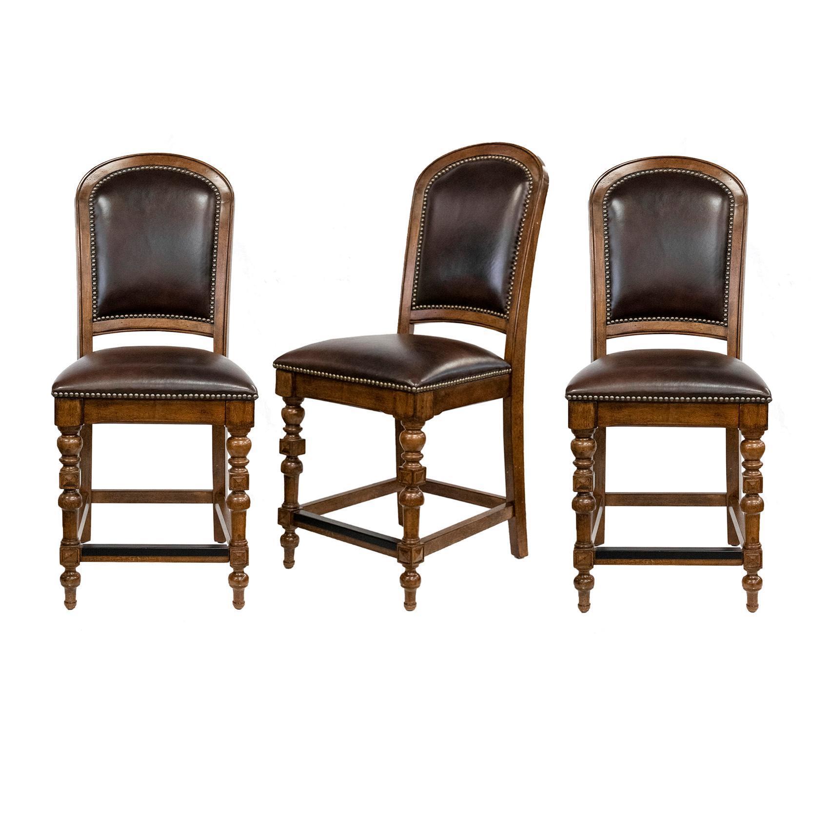 Bernhardt Leather Seat Stools Set Of 3