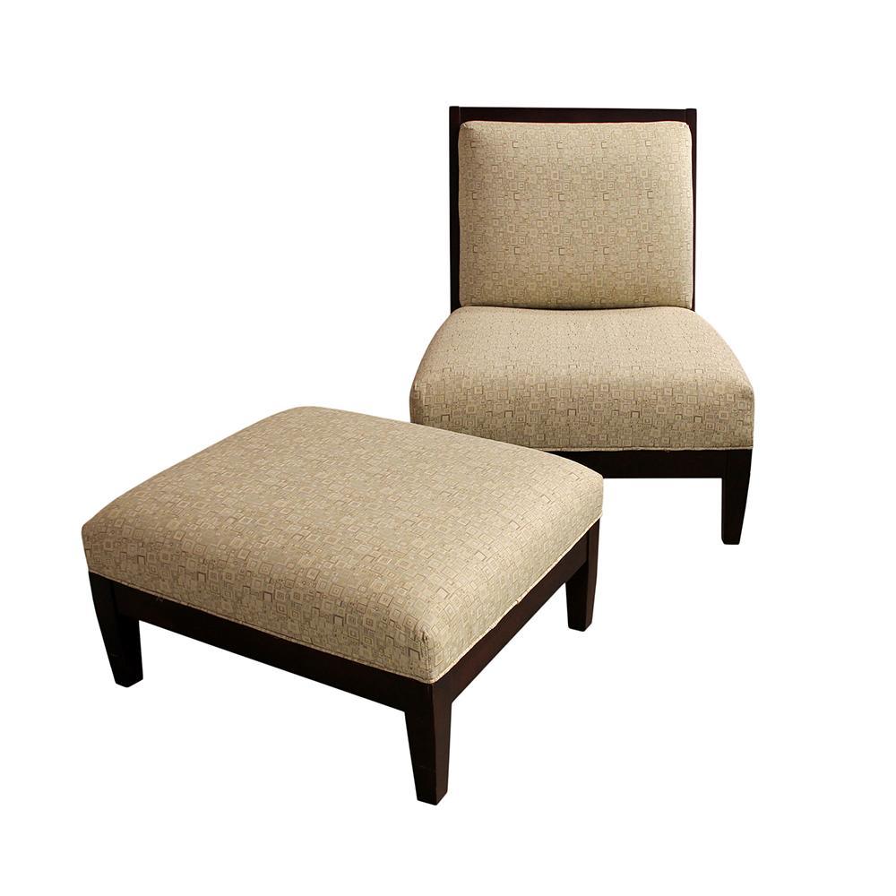 Square Pattern Chair & Ottoman