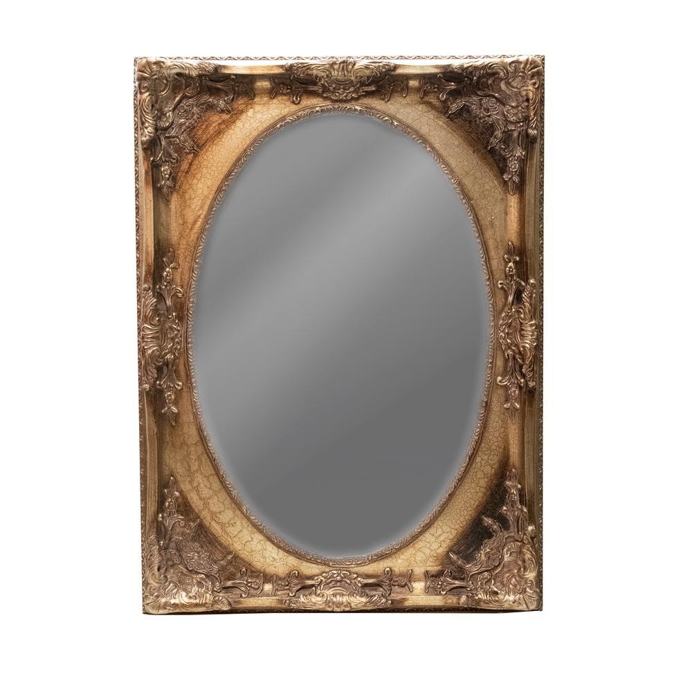 Oval Mirror Crackle Gold Frame