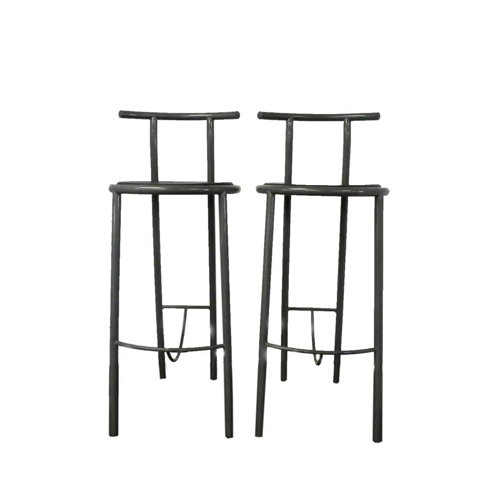 Pair Of Metal Round Seat Barstools