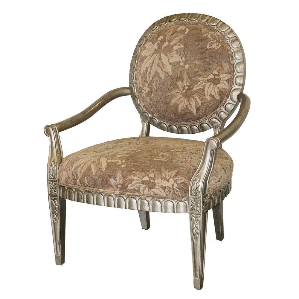 Bernhardt Tan Botanical Print Bergere Chair