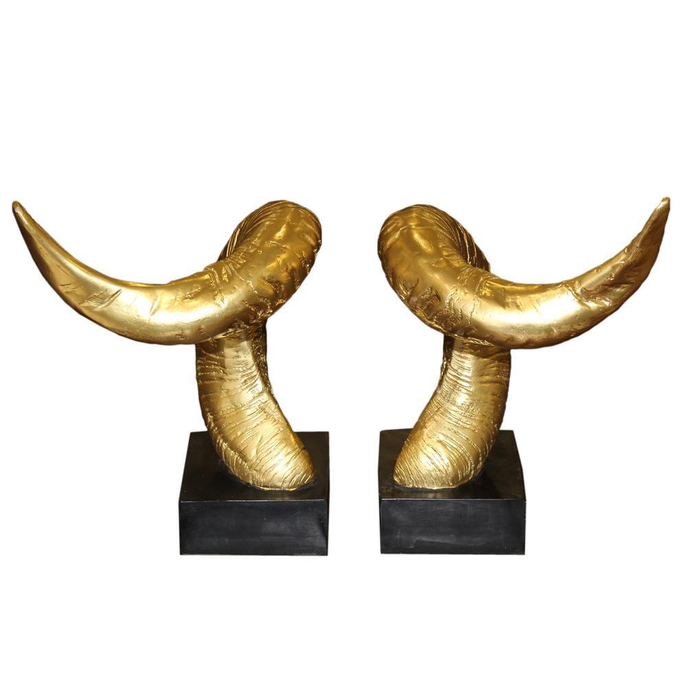 Pair Of Gold Decor Horns