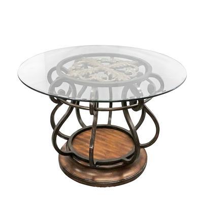 Round Glass Pedestal Table