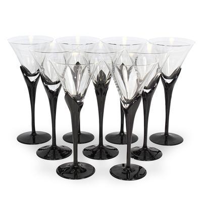 Set of 9 Mikasa Vogue Onyx Red Wine Stems
