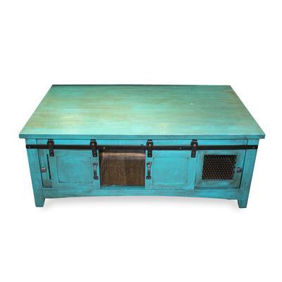 Teal Wood Coffee Table