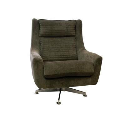 Green Tufted Fabric Swivel Chair